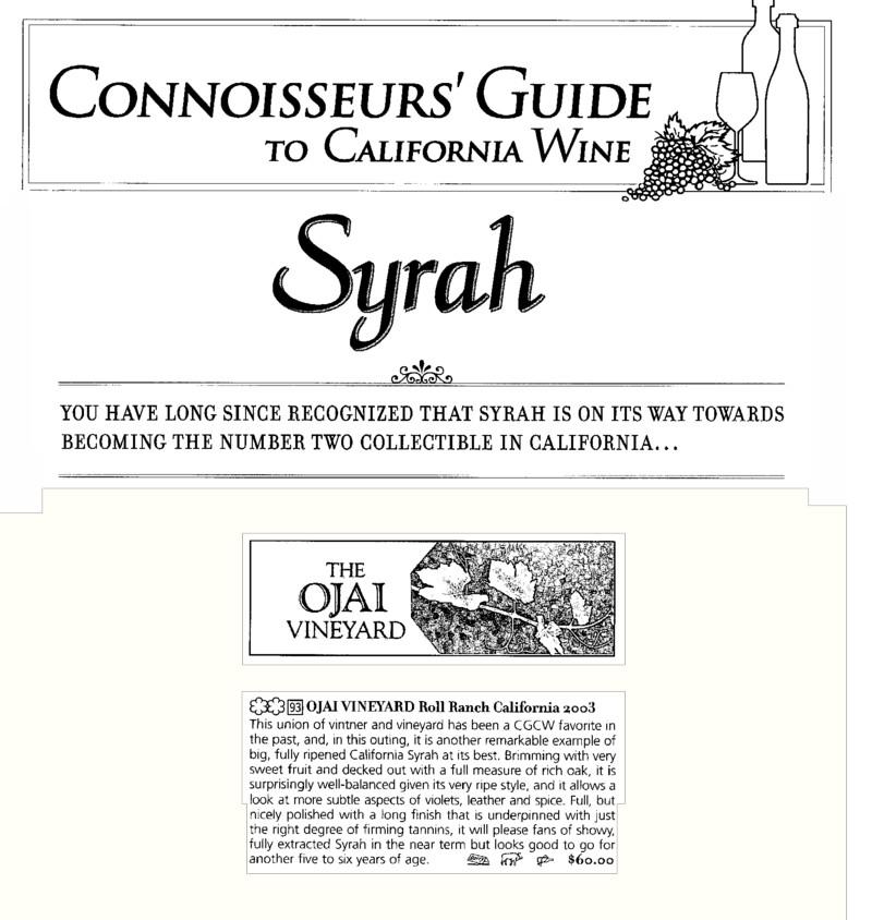 Connoisseurs july 2006 syrah RR